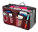 Lady Women Travel Insert Handbag Organiser Purse Large Liner Organizer Tidy Bag-Red