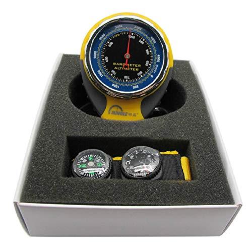 Elviray Barómetro de altímetro Multifuncional 4 en 1 portátil con medición de presión con termómetro de brújula para Acampar al Aire Libre