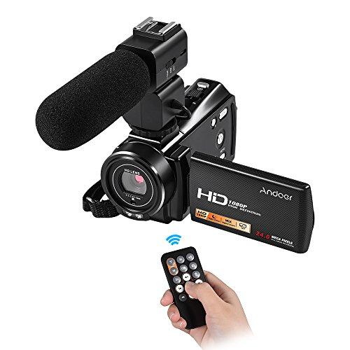 'andoer hdv-v7plus 1080p full hd 24mp telecamera video digitale portatile videocamera con telecomando a infrarossi per visione notturna 16x zoom 3.0rotary lcd