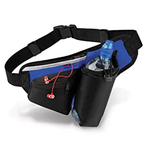 QS20 Teamwear Hydro Belt Bag in Black/Blue by Quadra, a 'Must Have' Item, Bottle Holder, Ipod/MP3 Compatible Inc. Headphone Port, Zipped Pocket