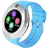 Kivors Bluetooth Smartwatch, Classic Ronda de IPS Pantalla Táctil impermeable Reloj Inteligente con Tarjeta SIM y TF, Fitness Tracker, podómetro, Monitor de sueño,Cámara remota, Notificación de Mensajes para Android e IOS (Azul)