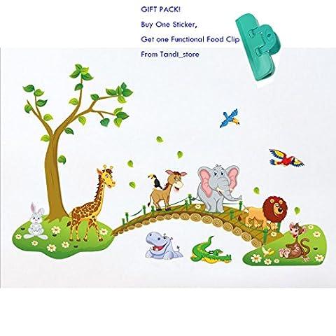 Tandi Kids Child Nurseries Baby Room Wall Decals Stickers Flowers Wild Animals Jungles (Wild Animals, 140(W)X90(H) CM)