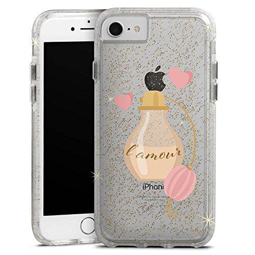Apple iPhone 7 Bumper Hülle Bumper Case Glitzer Hülle Parfuem Parfum L'Amour Bumper Case Glitzer gold