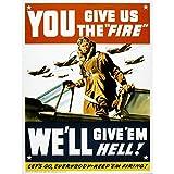 Wee Blue Coo LTD Propaganda War Wwii USA Pilot Fighter Jet Art Print Poster Wall Decor Kunstdruck Poster Wand-Dekor-12X16 Zoll