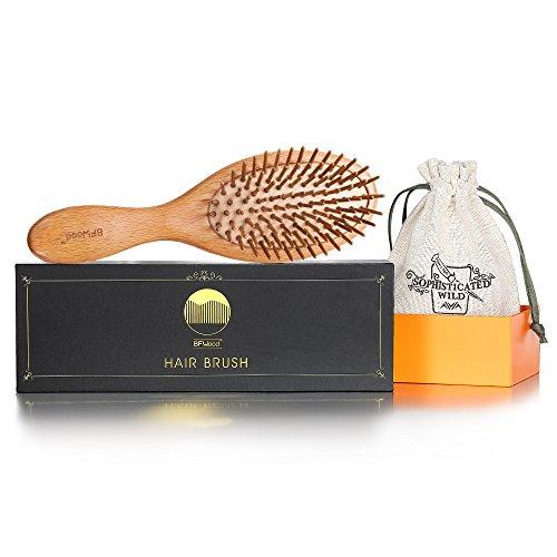 Bfwood spazzola capelli in legno per massaggiare il cuoio capelluto – manico grande