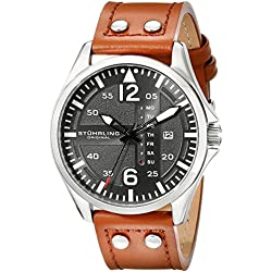 Stuhrling Original Men's Quartz Watch with Black Dial Analogue Display and Brown Leather Strap 699.02