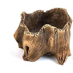 Vintage béton Pot de fleurs, imitation grossière poterie Bois souche d'arbre Forme Motif Creative Pots de fleurs artificielles, D, 8*8*6cm