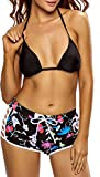 Damen Bikini Bademode Blumen Neckholder Push-Up Boardshorts Panty Shorts CutOuts Top High Waist Weiß-XXL 42/44