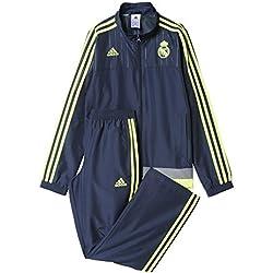 adidas Real Madrid CF PR Suit 2015/2016 - Chándal para niños, color gris / lima, talla 164