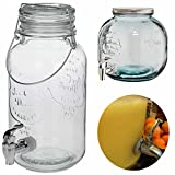 LS Design Glas Getränkespender Zapfsäule Dispenser Zapfhahn Getränkeportionierer Bar Butler 5,5 Liter 31x17,5cm LS-LebenStil