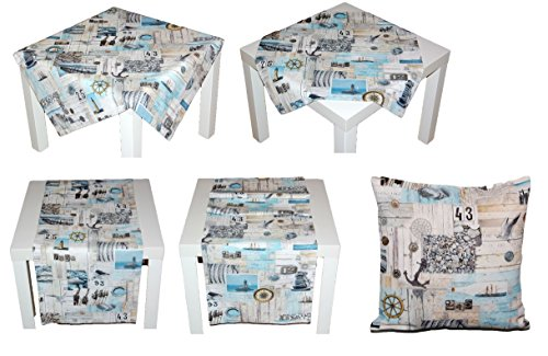 exclusive Kissenhülle 40×40 cm MARITIM Kissenbezug Baumwolle Vintage Style Nautik Shabby Look Möwe Kieselsteine Kollektion Schleiß / Germany (Kissenhülle 40×40 cm) - 6