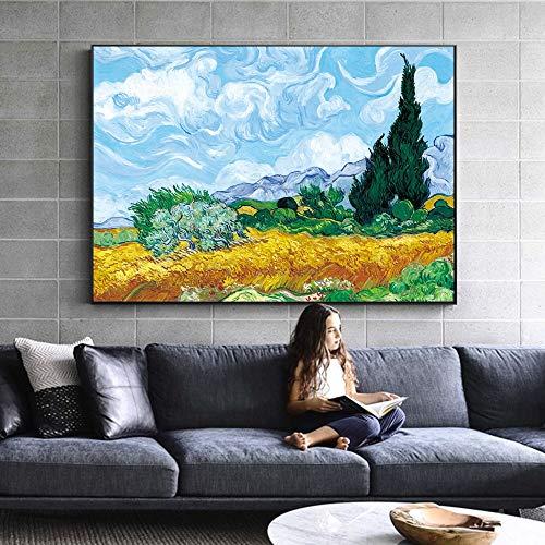 Hllhpc Wheatfield cipreses Cuadro Van Gogh Replica