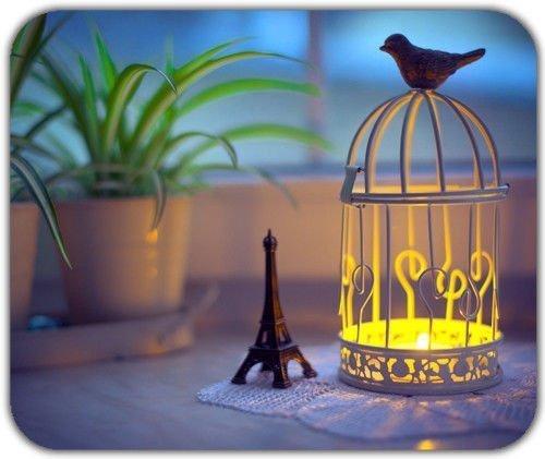 Schöne Eiffelturm Käfig Freiheit Vogel Statue Kerze romantischen Abend Mauspad