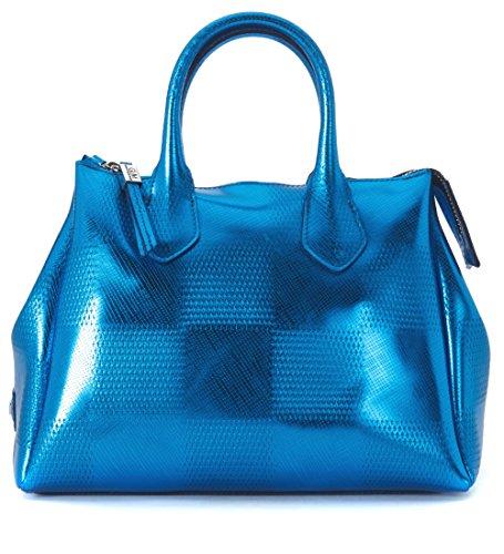 Borsa bauletto GUM Gianni Chiarini in gomma blu metallizzato effetto dama