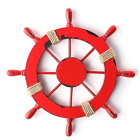 Wooden Ship Wheel,KING DO WAY Anchor Boat Wall Plaque Nautical Beach Tropical Pirate Ship Steering Wheel Decor Red