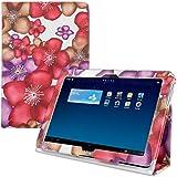 kwmobile Funda para Huawei MediaPad 10 Link - Case delgado para tablet con soporte - Smart Cover slim para tableta Diseño flores transparentes en rosa fucsia violeta marrón