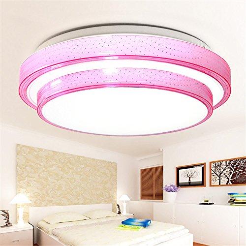DengWu Deckenleuchten Moderne, einfache ganzjährig warme LED-Deckenleuchten Arbeitszimmer Mädchen Schlafzimmer Schlafzimmer lampe Farbe Acryl Lampe, rosa, Durchmesser 500 mm