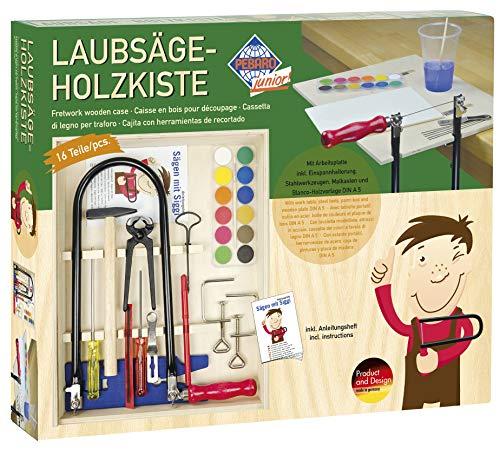 Pebaro 429S - Laubsäge-Set in der Holzbox mit Arbeitsplatte (Junior-werkzeug-set)