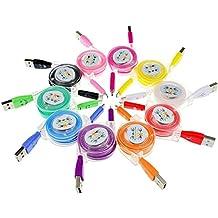 Sudroid 10pcs/pack 3ft 1m colorido libre de enredos retráctil Rainbow lámpara de luz LED Micro USB cargador cable de sincronización de datos de carga Cable de extensión para Galaxy S6S3S4Note 4teléfonos Android (10colores)