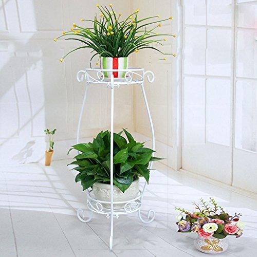 BSNOWF-fleur étagère Fleur Stand Noir Fer Art Plancher-debout Mariage Fleur Pot Étagère Salon Intérieur Style Européen Vie Pastorale ( Couleur : Blanc , taille : L )