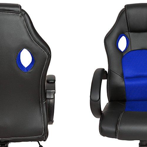 TecTake Sportsitz Chefsessel Stuhl Bürostuhl Racing Schalensitz – diverse Farben – (Blau) - 3