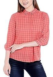 Spykar Womens Cotton Peach Orange Regular Fit Tops (Medium)