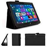 DURAGADGET Executive Black Faux Leather Folio Case With Built In Stand Custom Designed For Microsoft Surface RT & The Microsoft Surface 10.6 Inch Tablet Hybrid PC