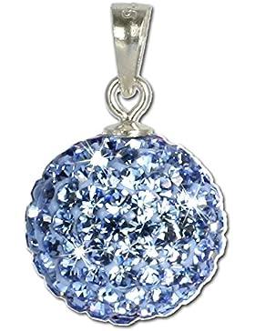 SilberDream Glitzer Anhänger Swarovski Kristalle blau SHINY Silber Kettenanhänger mit Glitzerkristallen für Kette...