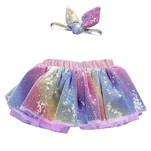 Mädchen Kinder Tutu Suit Party Dance Ballett Baby Bling Kostüm Rock + Ohren Stirnband Set MiniKleid ()