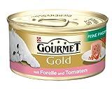 Gourmet Gold Katzenfutter Feine Pastete mit Forelle und Tomaten, 85 g