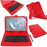 """DURAGADGET Funda / Teclado ESPAÑOL Roja 10.1 """" Para Tablet Lenovo Tab 2 A10-30 - Conexión MicroUSB + Lápiz Stylus"""
