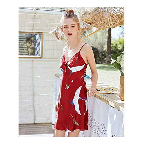 MAOGELEI Pyjama Nachthemd Für Weibliche Frühlings- Und Sommernachthemden Mit Tieren, Die Hausgemachte Kostüme Drucken (Hausgemachte M&m Kostüm)