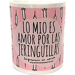 Enfermera en Apuros Taza con Mensajelo Mío Es Amor por las Jeringuillas, Cerámica, Blanco, 8 cm