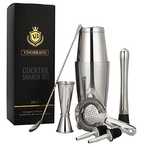 Edelstahl Boston Cocktailshaker Set in Silber von VinoBravo: 530 ml & 830 ml Cocktail shaker, Hawthorne-Barsieb, Doppel-Jigger, 30 cm Rührlöffel, 18 cm Getränkestößel und Rezepte