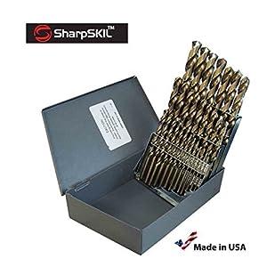 SharpSKIL Premium M42 Kobaltbohrer-Set, HSS-Bohrer, 29-teilig Fractional- 1/16″-1/2″ x 64. Hergestellt nach NAS-Spezifikationen 907J, hergestellt in den USA