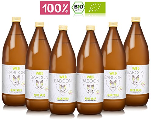 Premium Aloe Vera 100% Bio Direktsaft, 1200mg Aloverose, 6 Liter Trinkgel, DE-ÖKO-006 (6)