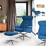 FITATHOME Fit@Home Fauteuil Relaxation TV Inclinable Repose-Pied Tissu Bleu Métal Chromé Bureau Salon Chambre Contemporain Design Moderne Bleu