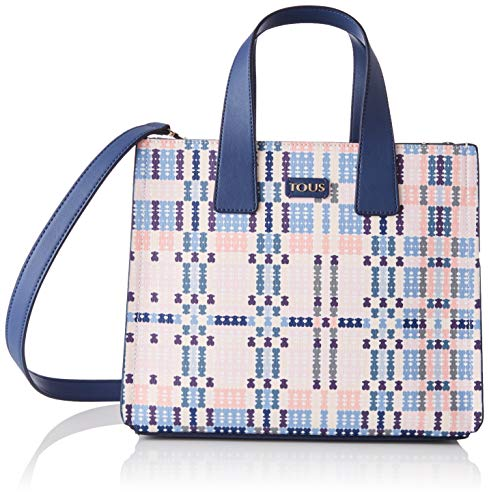 Tous City Tartan Bears - Bolso Bandolera para Mujer, Azul/Rosa, 27.5 x 24 x 13.5 cm