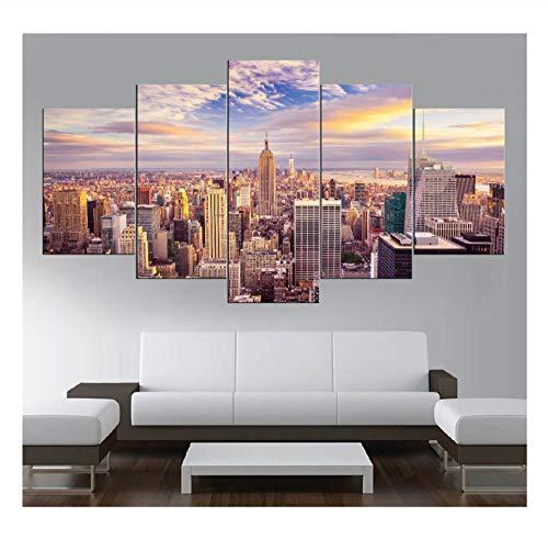 wangyubing 5 Stück Leinwand Kunst Landschaft Manhattan New York Wolkenkratzer USA HD Print Bild auf Leinwand Wandkunst Dekorationen Kunstwerk gerahmt -