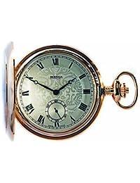 Bernex Swiss Made Mechanical Rose Gold Plate Full Hunter Pocket Watch, Oversize paterned case