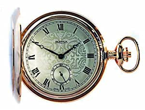 Bernex Swiss Made Mechanical Rose Gold Plate Full Hunter Pocket Watch, Oversize paterned case