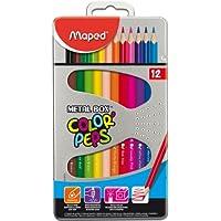 Maped Etui métal de 12 Crayons de couleur COLOR'PEPS Triangle Assortis