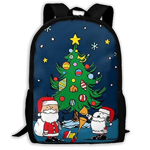 Geeignet für 38,1 cm (15 Zoll) Laptops Snoopy und Santa Claus Lässiger Rucksack, Arbeits-Studien-Reiserucksack, geeignet für Business, Reisen, Schule, Damen -