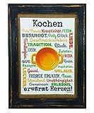 Kochen erwärmt Herzen! Druck Poster A4 Küche Koch Hobby Gastronomie Geschenk AnneSvea Typo Deko