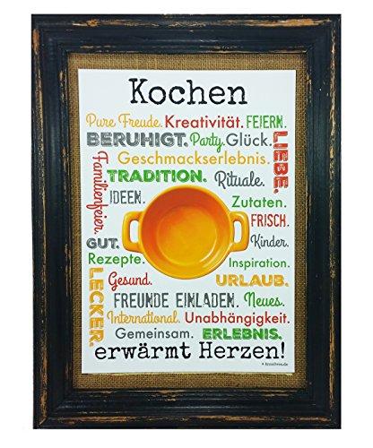 Kochen erwärmt Herzen! Druck Poster A4 Küche Koch Hobby Gastronomie Geschenk AnneSvea Typo Deko (Druck Kochen Vegetarische)