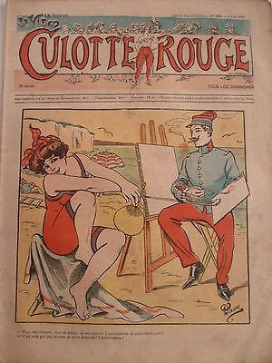 1909 CR CURIOSA DESSIN NAM BAIN DE MER MAILLOT PLAGE EVENTAIL PEINTRE CHEVALET