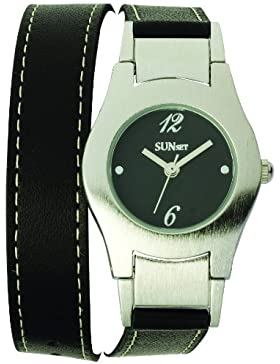Sunset–1956Damen-Armbanduhr–Quarz Analog–Zifferblatt schwarz Armband Leder schwarz
