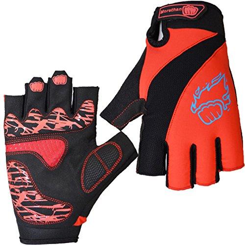 DHH Ziehen Sie den Handschuh Mountainbike Fahrrad Reiten Half Finger Handschuh, red, l
