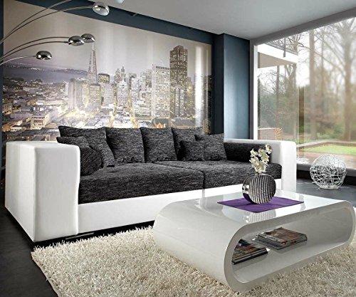 DELIFE XXL-Sofa Marlen Schwarz Weiss 300x140 cm Bigsofa