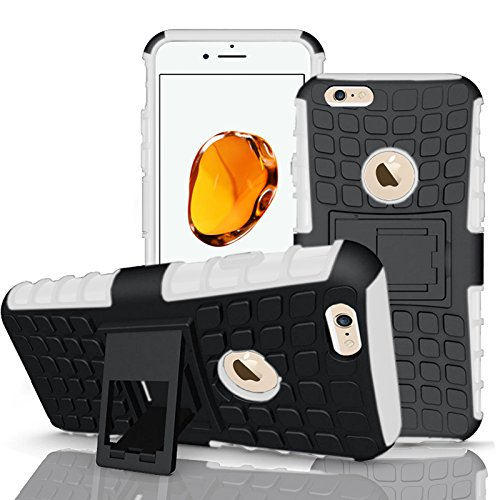 Apple iPhone 7Plus, Armor Case Tough Rugged Shock proof Armorbox Dual Layer Heavy Duty Carrying Hybrid Hard Slim Protective Case For iPhone 7 (with Kickstand) + Screen Protector-Black White